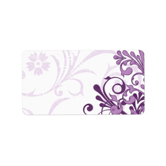 Purple Abstract Floral Wedding Blank Address Label