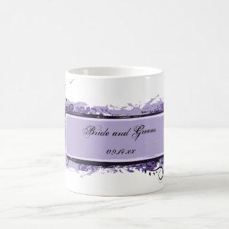 Purple Abstract Floral Wedding Classic White Coffee Mug