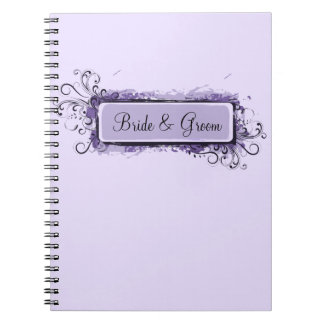 Purple Abstract Floral Wedding Spiral Notebook