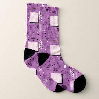 Purple Abstract Memphis Design Socks