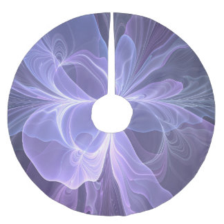 Purple Abstract Modern Fractal Brushed Polyester Tree Skirt