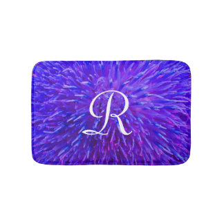 Purple Abstract Monogrammed Plush Bath Mat