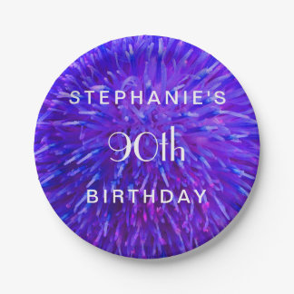 Purple Abstract Paper Plates, 90th Birthday Party Paper Plate