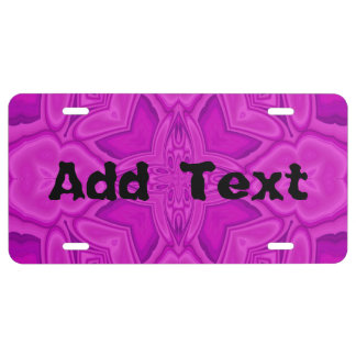 Purple abstract wood pattern license plate
