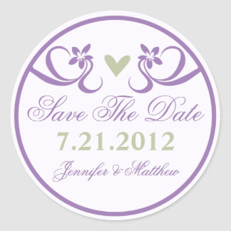 Purple Accent Green Heart Save The Date Stickers