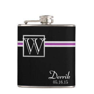 Purple Accent Stripe and Monogram Hip Flask