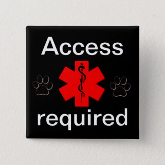 Purple access required medical alert 2 inch square button