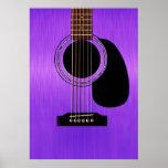 Purple Acoustic Guitar Poster