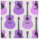 Purple Acoustic Guitars Pattern Fabric