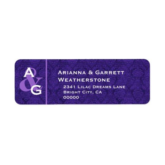 Purple Address Monogram Wedding Labels