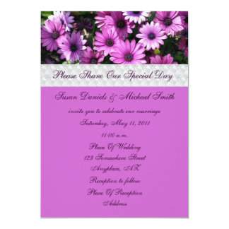 Purple African Daisies Flower Wedding Invitation