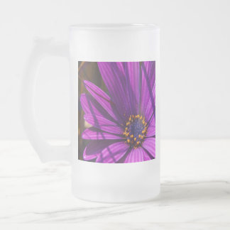 Purple African Daisy Close Up Frosted Glass Beer Mug