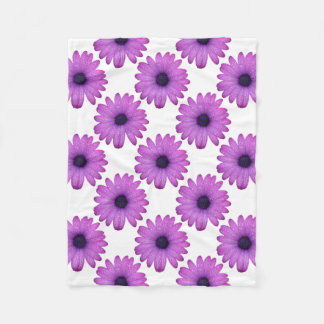 Purple African Daisy with Raindrops Isolated Fleece Blanket