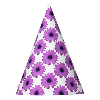 Purple African Daisy with Raindrops Isolated Party Hat