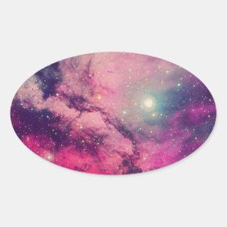 Purple Afterglow Galaxy Oval Sticker