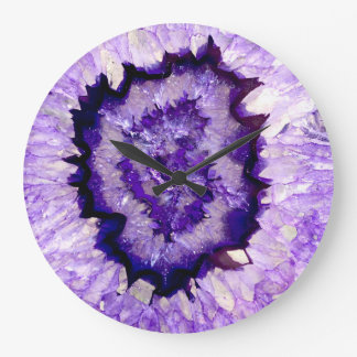 Purple agate large clock