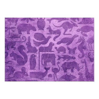 Purple Aged and Worn Animal Kingdom Pattern Card