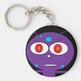 purple alien basic round button keychain