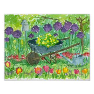 Purple Allium Flowers Wheelbarrow Garden Painting Poster