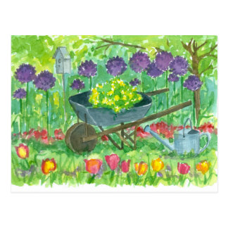 Purple Allium Flowers Wheelbarrow Watercolor Postcard