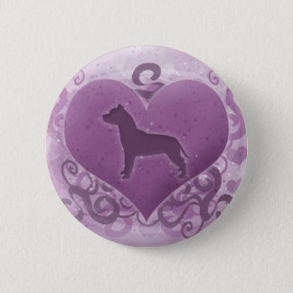 Purple American Pit Bull Terrier Valentine 2 Inch Round Button