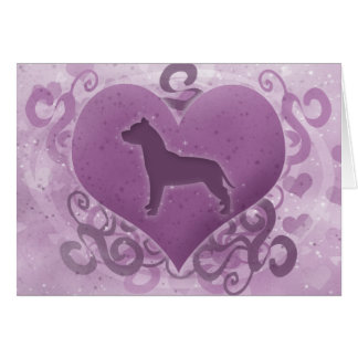 Purple American Pit Bull Terrier Valentine Card