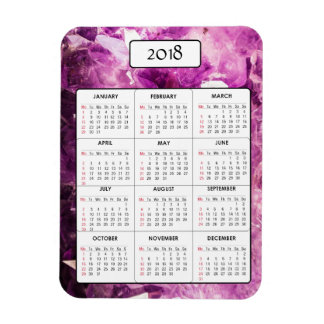 Purple Amethyst 2018 Calendar Magnet