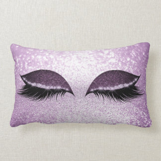Purple Amethyst Black White Glitter Glam Makeup Lumbar Pillow
