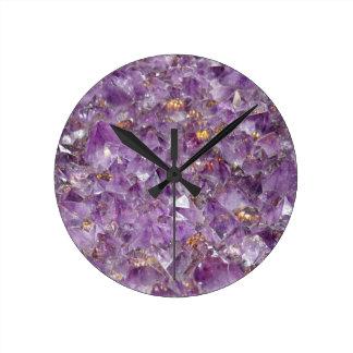 Purple Amethyst Crystal Stone Print Round Clock