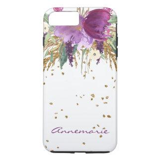 Purple Amethyst Floral Gold Sparkles Monogram iPhone 7 Plus Case