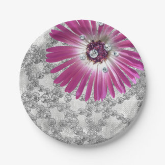 Purple Amethyst Flower Diamond Gerbera Glitter 7 Inch Paper Plate
