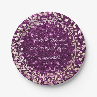 Purple Amethyst Glitter Foxier Gold Wreath Garland Paper Plate