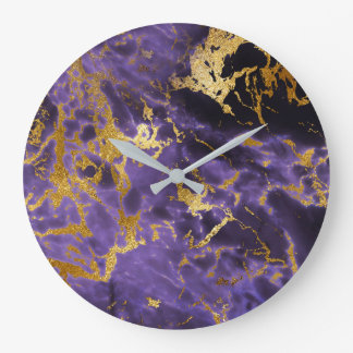 Purple Amethyst Golden Stone Marble Black Luxury Large Clock