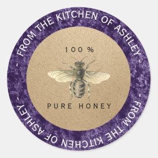 Purple Amethyst Homemade Honey Kitchen Kraft Bee Classic Round Sticker