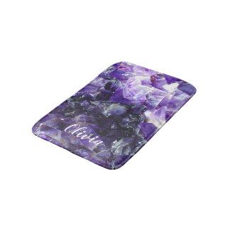 Purple amethyst Personalized Name Bath Mat