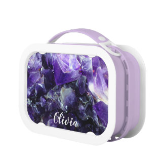 Purple amethyst Personalized Name Lunch Box