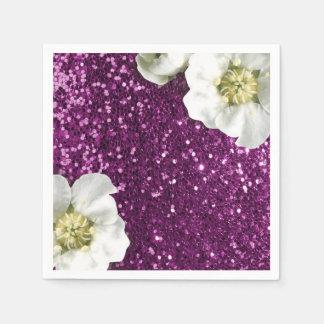 Purple Amethyst Pink Jasmine Glitter Sequin Napkin
