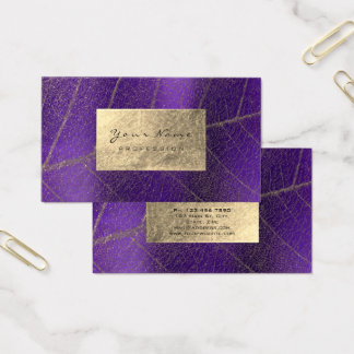 Purple Amethyst Sepia Gold Foil Botanical Delicate Business Card