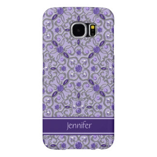 Purple Amethyst Silver Jewels Bling Monogram Samsung Galaxy S6 Cases