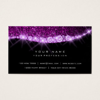 Purple Amethyst Sparkly Diamond Glitter Glam Black Business Card