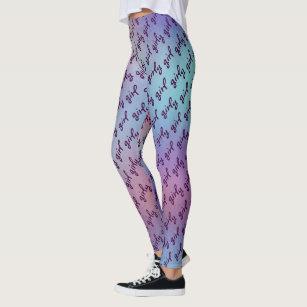 aaeaf09b2d1a8 Purple and Aqua Cute Girly Girl Word Pattern Leggings