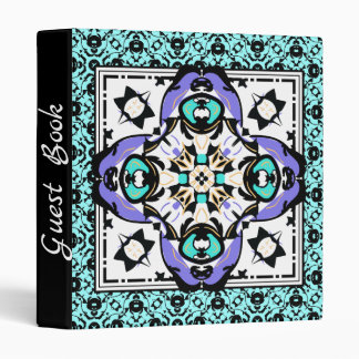 Purple and Aqua Elegant Moroccan Guest Book Vinyl Binder