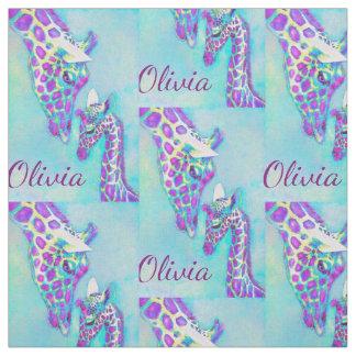 purple and aqua giraffes- personalized fabric