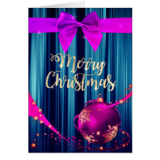 Purple and Azure Christmas Greeting Card