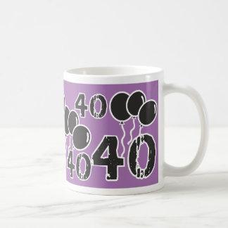 PURPLE and BLACK 40th Birthday - 40 yrs old Bday Basic White Mug