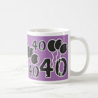 PURPLE and BLACK 40th Birthday - 40 yrs old Bday Coffee Mug