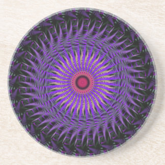 Purple and Black Abstract Coaster