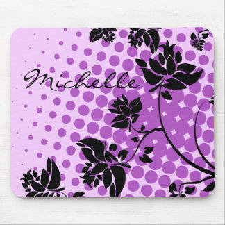 Purple and Black Abstract Flowers Mouse Pad