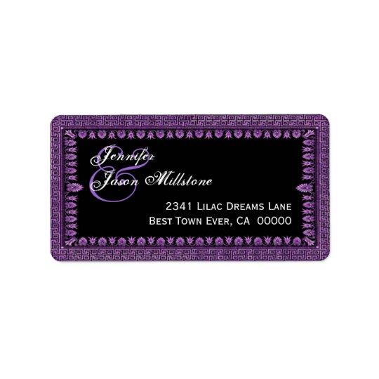 Purple and Black Art Deco Border Wedding Label