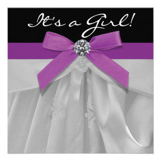 Purple and Black Baby Girl Shower Personalized Announcement
